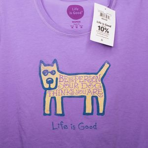 New LIFE is GOOD T-shirt Dog Purple NWT Women's